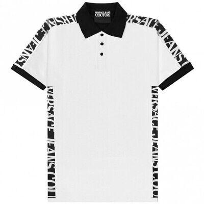 VERSACE JEANS COUTURE Men Tape Logo WHITE Polo Shirt BNWT & Original
