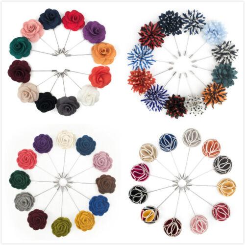 Lot of 12 TopTie Men Lapel Pin Flower Set Boutonniere Stick Pack for Event Suit