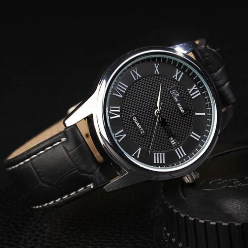 $7.29 - Classic Roman Numerals Men's Leather Luxury Analog Quartz AUTO Date Wrist Watch