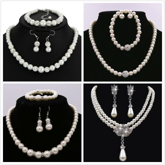 Jewellery -  FAUX PEARL NECKLACE EARRING BRACELET SET WEDDING BRIDAL JEWELLERY