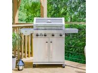 STUNNING Grillstream Gourmet Stainless Steel 4 Burner Gas BBQ USED ONCE ALREADY BUILT RRP £800