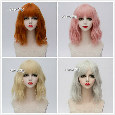 35CM Short Light Blonde/Orange/Light Pink/Sliver White Curly Lolita Cosplay Wig  - White Short Wig