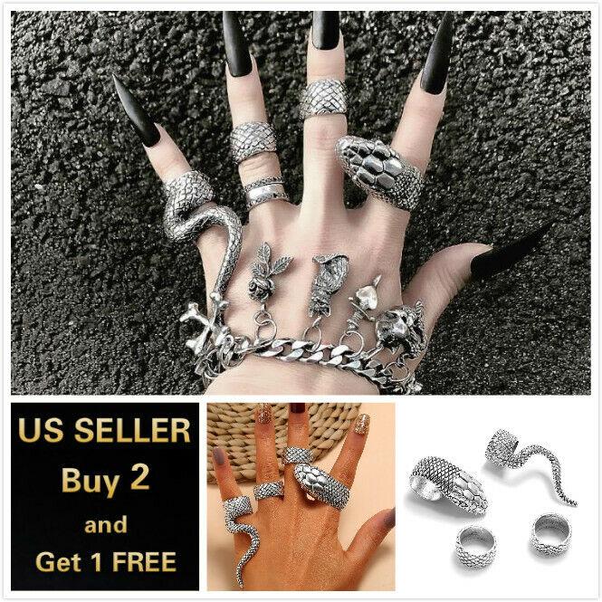 4PCS Women Boho Silver Ring Set Engraved Snake and Fashionab