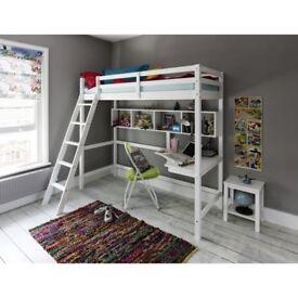 High Sleeper Cabin Bed in White (New York Model) NOA & NANI