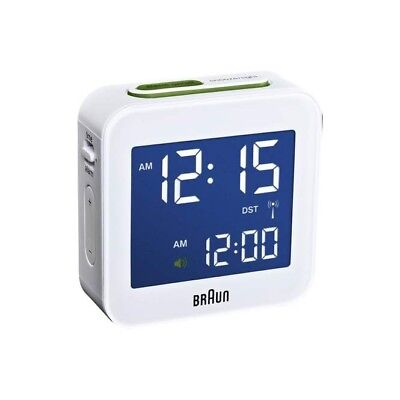 LOOK New Braun BNC008WH-RC Digital Global Radio Controlled Travel Alarm Clock
