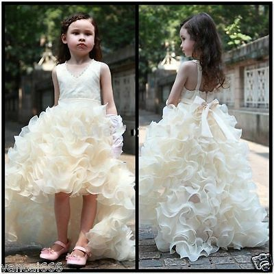 2015 High Low Organza Flower Girl Dresses Party Prom Wedding Bridal Pageant Gown - Flower Girl Dresses Organza