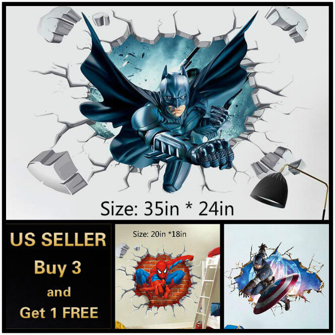 Home Decoration - US 3D Wall stickers Superhero Kids Cartoon Room Decal Wallpaper Removable