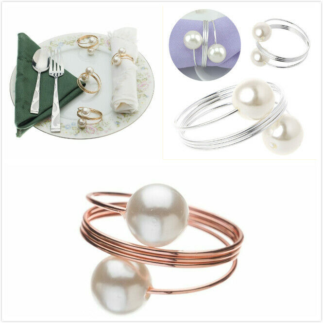 12X Exquisite Pearl Napkin Ring Handmade Serviette Buckle Holder Wedding Dinner