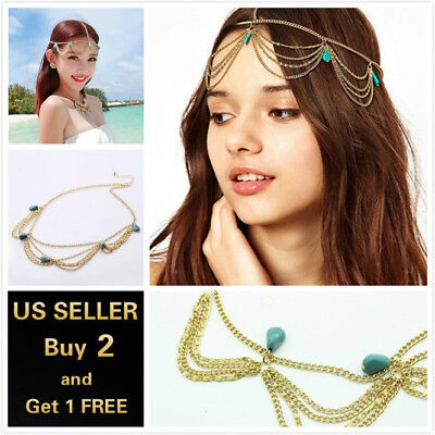 US Vintage Gold Turquoise Bohemian Hair Chain Accessories Head Chain Jewelry](Head Chain Jewelry)