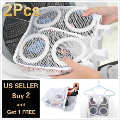 2pcs Laundry Bag Shoes Washing Drying Separated Mesh Sneakers Protective Pouch