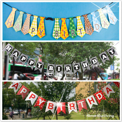 Cute Happy Birthday Banner Tie Red and Black Party Decoration Supplies Flag](Black And Red Happy Birthday Banner)