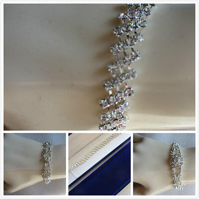 (Elegant Diamante Bracelet With Velvet Gift Box Wedding Prom Xmas Present SP)