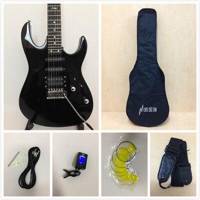 4/4 HSLG4-TBK Haze Electric Guitar,Solid Body, Trans. Gloss Black-Full Pack!