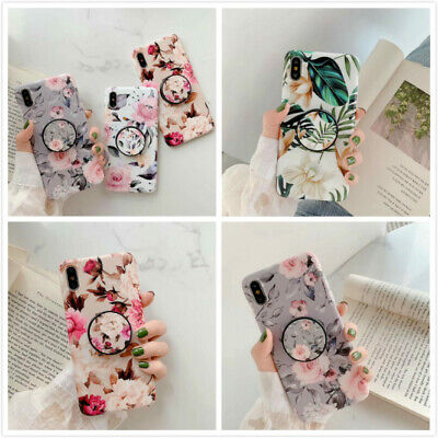 Flower Phone Cover Shell For iPhone 11 XR 6S 7 Plus Case With POP Up Holder