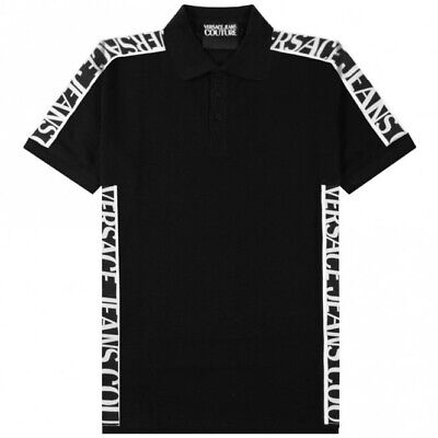 VERSACE JEANS COUTURE Men Tape Logo BLACK Polo Shirt BNWT & Original