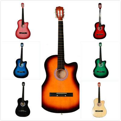 38 Inch Cutaway Acoustic Guitars with Guitar Plectrum Multi-color