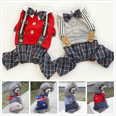 Boy Dog Pet Plaid braces Jumpsuit Pants Shirt Cat Puppy Spring/Summer Clothes