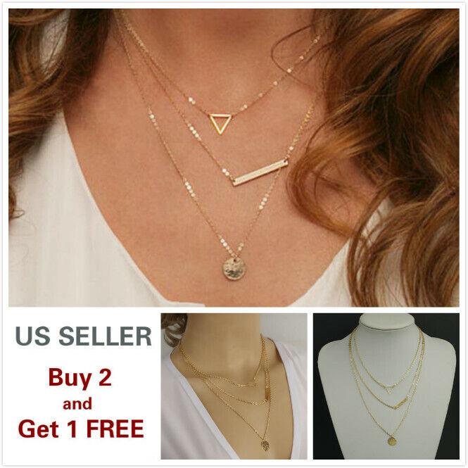 Triple layer Fashion Women Lady Choker Necklace Charm Chain Jewelry B