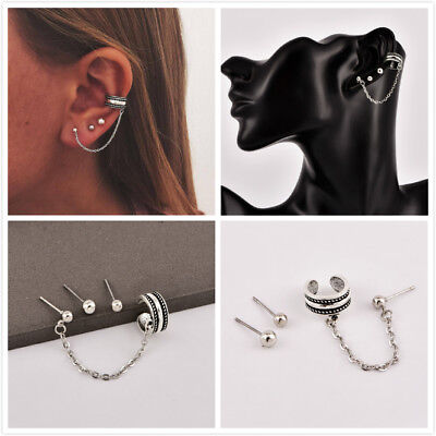 3Pcs/Set Silver Plated Small Ball Cuff Ear Stud Chain Fashion Earrings Jewelry Small Ear Plate