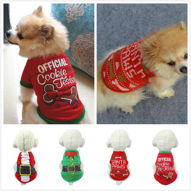 Pet Dog Cat Christmas Santa Clothes Puppy Warm Jumper Costume Outfit Vest UK 4