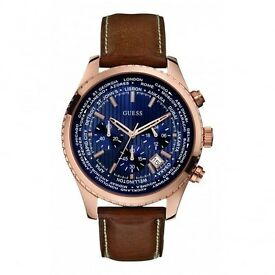 Half price Guess Men's Quartz Watch (W0500G1) with Blue Dial Analogue Display