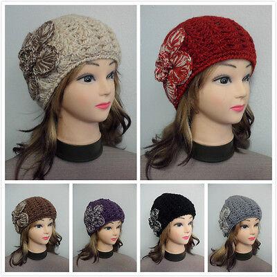 Crochet Winter Beanie - Women's Girls Winter Warm Knit Beanie Hat With Crochet Flower Double Layer