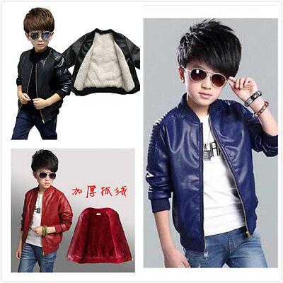 Warm Winter Kids Boy fleece PU soft Leather Jacket thicken Motorcycle Coats Gift](Kids Boys Leather Jacket)