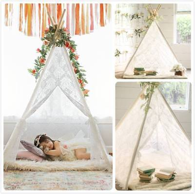 Lace Teepee Girls Tent Dream Castle Wedding Party Decor Indoor Outdoor Playroom - Girl Teepee