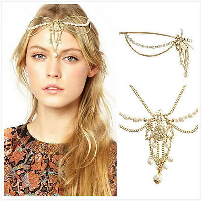 Boho Women Pearl Beads Gold Wedding Headdress Headband Crown Chain Headpiece AE