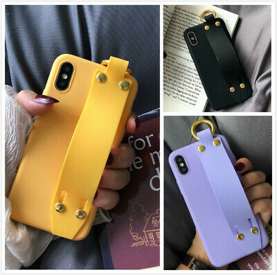 Cute Solid Strap Protective Phone Case Covers For iPhone Xs Max XR X 7 8 Plus