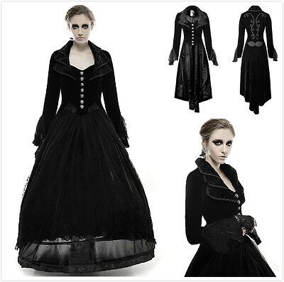 Punk-Rave Y-658 Female Black Velvet Gothic Steampunk Victorian Fancy Jacket Coat - Steampunk Female