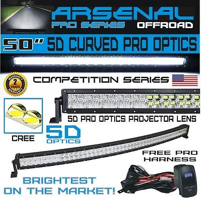 5D+ 50INCH ARSENAL CREE CURVED LED Light Bar Spot Flood Combo Offroad 4WD Truck