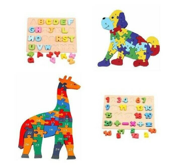 Kids Toddler Jigsaw Puzzle Baby Developmental Wooden Game Toy Funny NEW
