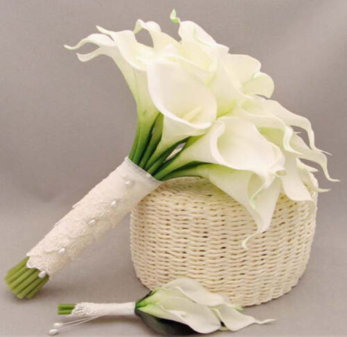 8pcs Artificial Calla Lily Latex Real Touch Flower Diy Decor