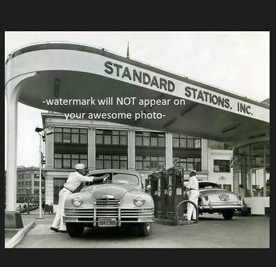 Vintage Standard Crown Gas Station PHOTO Island Pumps 1950s Service Buick Chevy](Crown Station)