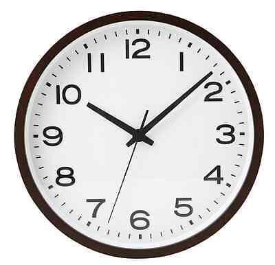 New MUJI Wall Clock Plain Woodden Dark Brown Large Analog Clock Quarts F/S Japan