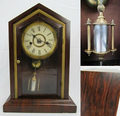WATERBURY MANTEL CLOCK antique wood chime rare UNIQUE PENDULUM