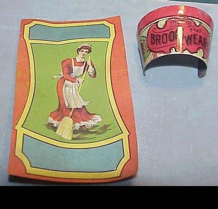 Unusual Vintage tin BROOM COLLAR & original paper LABEL C1910