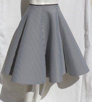 ETA Black & White Stripe Stretch Scuba Circle A Line Skirt S Halloween Costume - Striped Skirt Halloween Costume