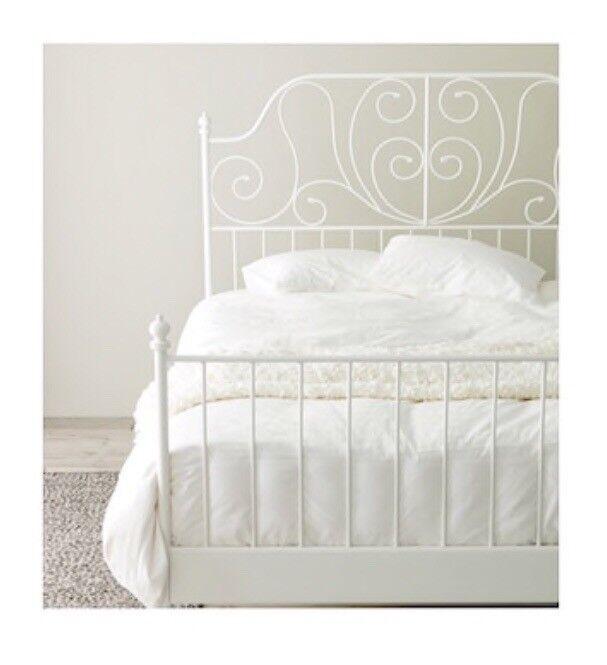 Ikea Leirvik metal white shabby chic double bed frame | in Barking ...
