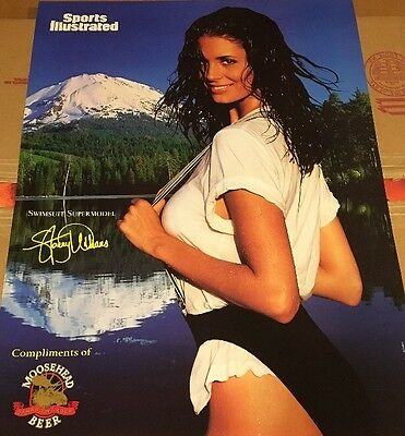 Vintage Sports Illustrated Swimsuit Moose Head Beer 1996 Poster Stacey Williams