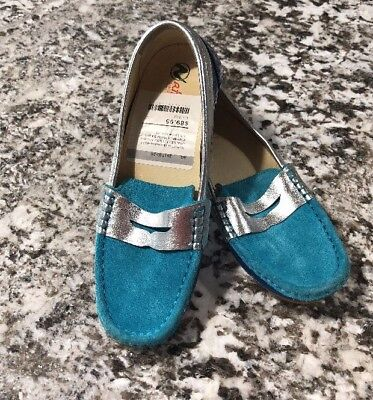 Teal Patent Schuhe (NWOB Naturino Children's Shoe Sz 2.5M Teal Navy Suede Patent Leather Loafer)