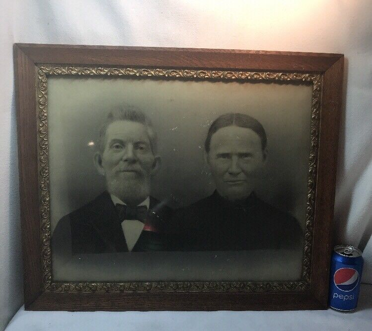 Vtg 1920-30's Oak Frame Chalk Design Haunting Stare Couple Photograph
