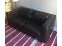 2 x brown leather sofas for sale