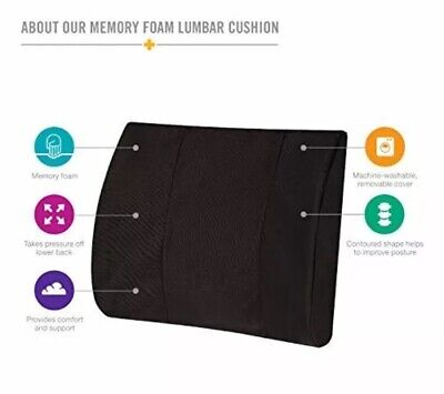 DMI Memory Foam Lumbar Pillow Back Support Cushion with Strap for Better (Best Lumbar Support Cushion)