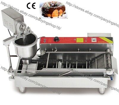 800PCS/H Commercial Electric Automatic Doughnut Donut Machine Maker Fryer 3 Mold