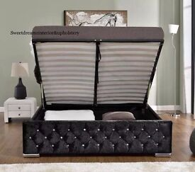 💛SALE❤️DOUBLE/SINGLE/KING SIZES CHESTERFIELD STORAGE CRUSH VELVET F IN BLACK/CREAM/SILVER COLOR