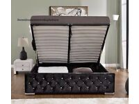 Same Day Quick Delivery New Ottoman Storage Crushed Velvet Chesterfield Designer Bed+Mattress