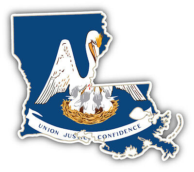 State Flag Bumper Sticker - Louisiana USA State Map Flag Car Bumper Sticker Decal 5'' x 4''