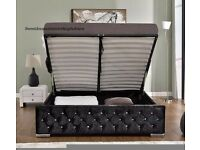 ★★ DOUBLE AND KING ★★ CHESTERFIELD OTTOMAN STORAGE ★★★ CRUSHED VELVET FABRIC BED FRAME SAME DAY